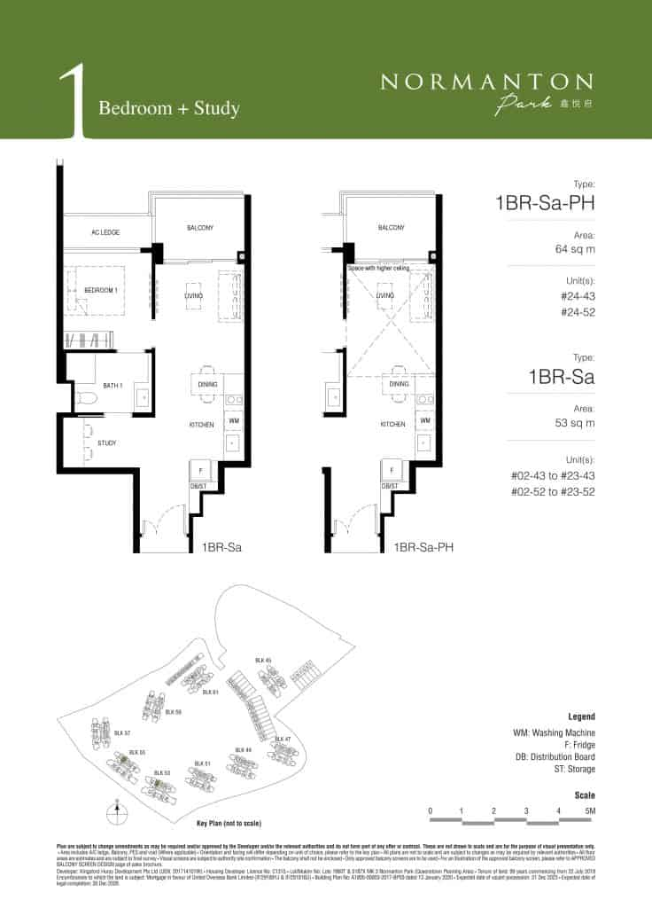 Normanton Park Floor Plan Type 1BR-Sa
