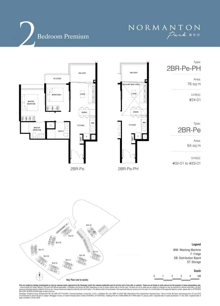 Normanton Park Floor Plan Type 2BR-Pe