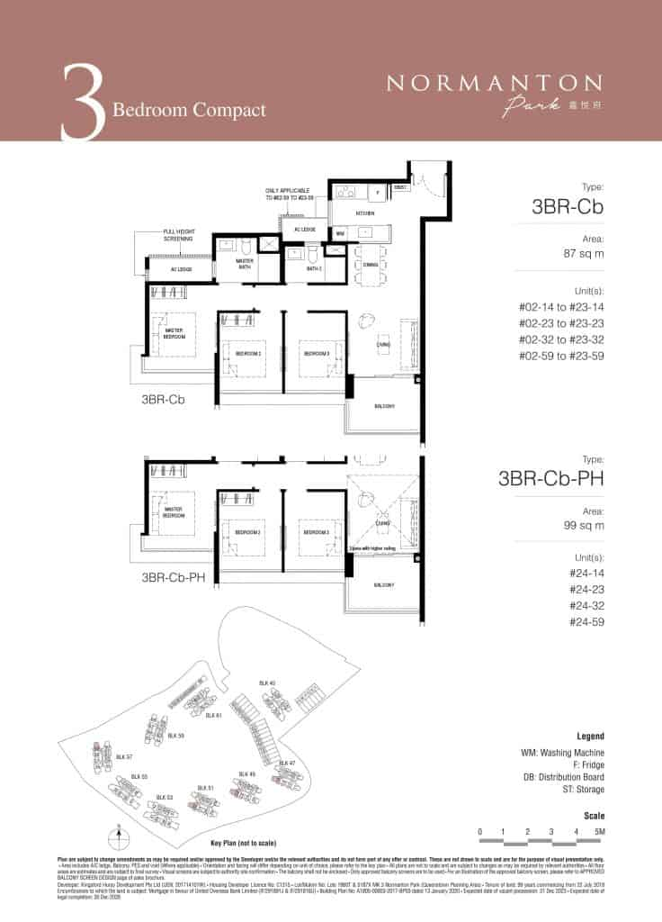 Normanton Park Floor Plan Type 3BR-Cb