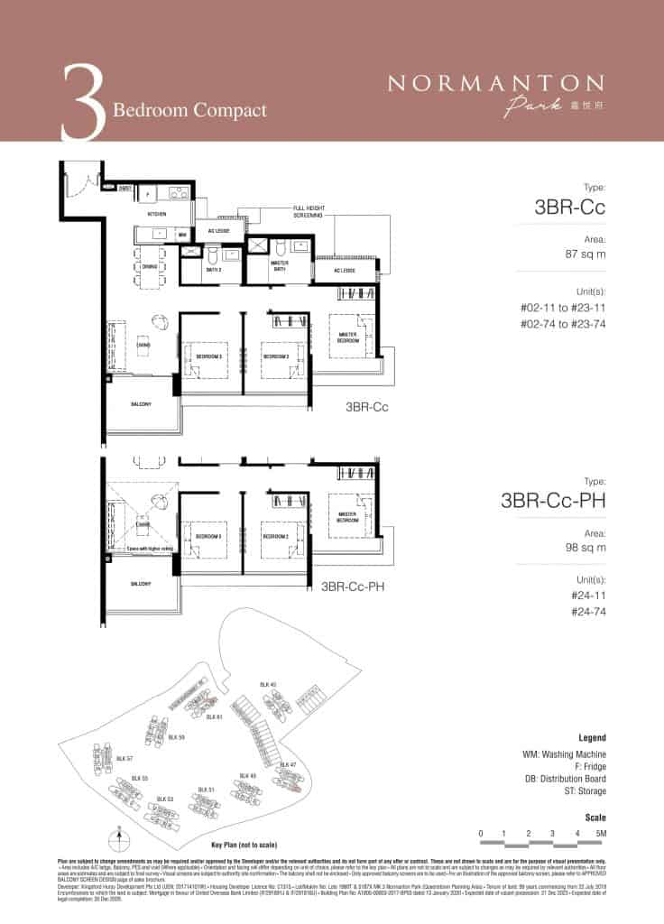 Normanton Park Floor Plan Type 3BR-Cc