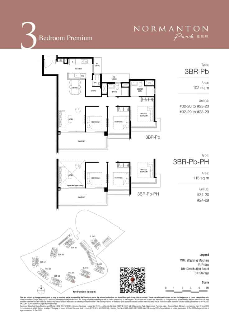 Normanton Park Floor Plan Type 3BR-Pb